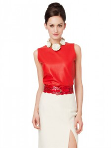 Sleeveless Leather Top  Oscr De La Renta