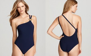 Tory Burch Solid Logo One Shoulder Maillot Swimsuit Bloomingdales -1