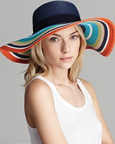 Kate Spade New York Multi colored Stripe Straw Sun Hat bloom