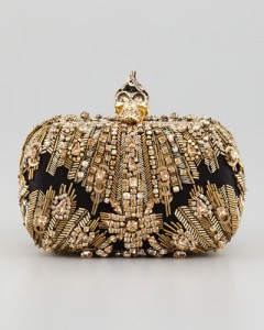 McQueen Crystal-Embroidered Punk Skull Clutch Bag, Gold $2980.00