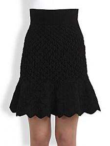 SAKS-Alexander McQueen quilted chenille skirt