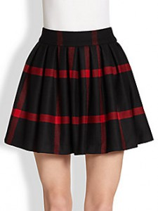 SAKS-Alice+Olivia box pleated wool skirt