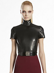 SAKS-Gucci black leather high neck top