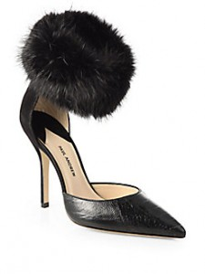 SAKS-Paul Andrew embossed leather, suede and fur pumps