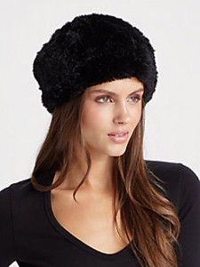 SAKS-Saks Fifth Avenue Collection rabbit fur beret