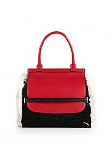 SAKS-The Row exotic mixed media top handle bag