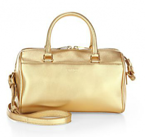 Saint Laurent Metallic Leather Baby Duffle Bag