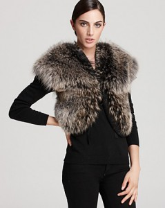 "Christian Cota for Maximilian          16"" Coyote Fur Vest with Wool Inserts"