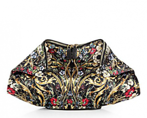 Saks Mcqueen Demanta Floral Printed Satin Clutch