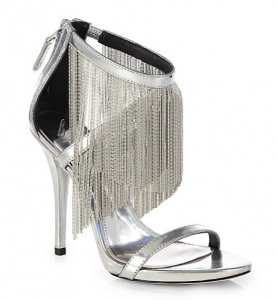 B Brian Atwood Condesa Metallic Leather Fringe