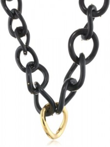 KARA by Kara Ross Toggle, Ebony Resin with Gold Twisted Resin Link Necklace Amazon