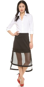 Robert Rodriquez Kyba Embroidered Net Skirt